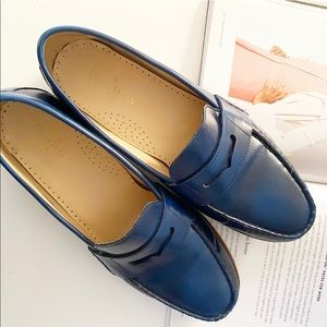 COLE HAAN Womens Blue Leather Penny Loafer